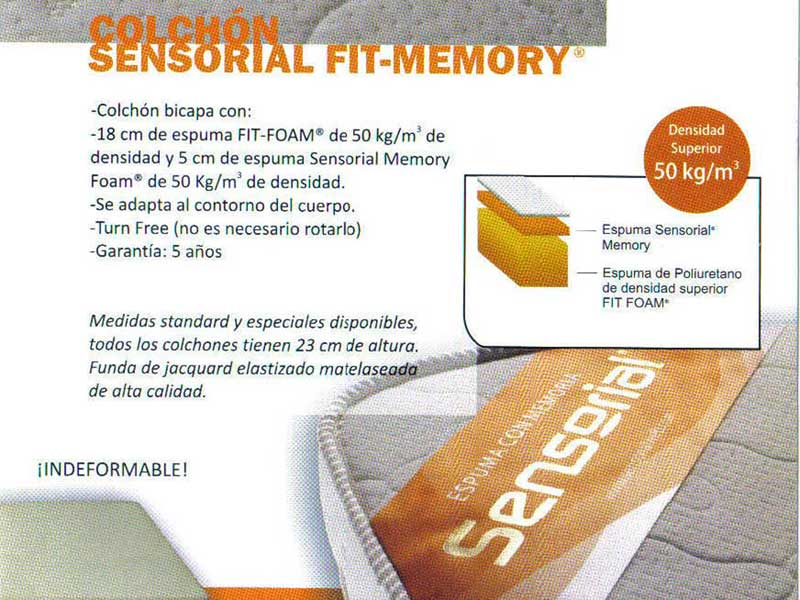 Colchón Fit Memory 0,80 x 1,90 x 23