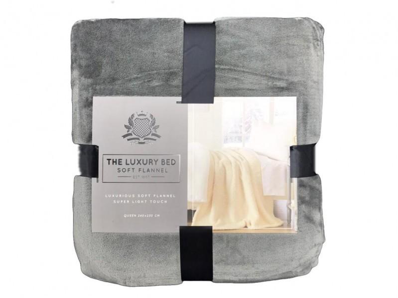 Frazada Luxury Sherpa & Flannel Twin Gris