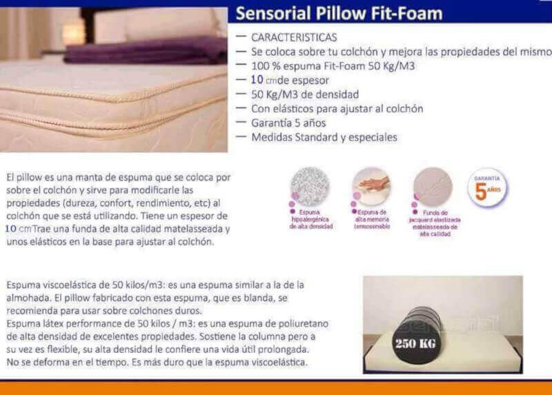 Pillow Top Fit de Espuma Viscoelástica 0,80 x 1,90 x 10